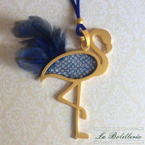Colgante Flamenco Dorado y Azul