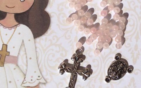 Kit Rosario Abalorios Rosa Claro