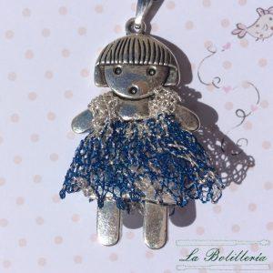 Colgante Niña Vestido Azulón